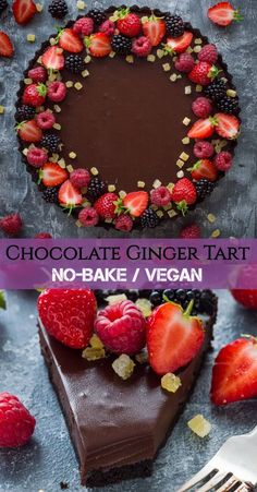 No-bake chocolate tart with stem ginger - an easy vegan chocolate tart with Oreo crust, chocolate ganache and stem ginger. This tart is super quick and easy to make but looks impressive and tastes incredible! Ginger Chocolate, Chocolate Strawberry Cake, Vegan Chocolate, Chocolate Desserts, Vegan Desserts, Fun Desserts, Chocolate Ganache Tart, Strawberry Brownies, Strawberry Desserts
