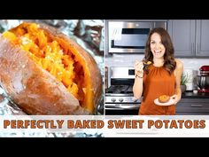 Learn How to Bake Sweet Potatoes by wrapping them in aluminum foil and then cooking them in the oven for a quick, easy, and healthy side dish recipe. Baked Sweet Potato Oven, Roasted Sweet Potato Cubes, Sweet Potato Recipes Healthy, Sweet Potato Tacos, Cooking Sweet Potatoes, Sweet Potato Breakfast, Sweet Potato Hash, Paleo Side Dishes, Vegan Dishes
