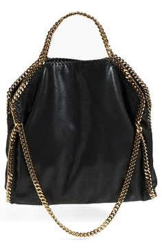 $1,195, Falabella Metallic Faux Leather Foldover Tote Black by Stella McCartney. Sold by Nordstrom. Click for more info: http://lookastic.com/women/shop_items/138274/redirect
