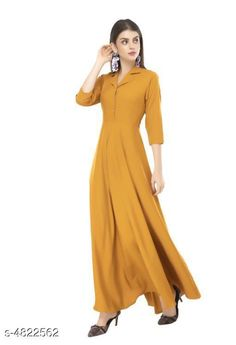Checkout this latest Dresses Product Name: *Solid Mustard Maxi Crepe Dress* Fabric: Crepe Sleeve Length: Three-Quarter Sleeves Pattern: Solid Multipack: 1 Sizes: S, M, L, XL, XXL Country of Origin: India Easy Returns Available In Case Of Any Issue   Catalog Rating: ★4.1 (7181)  Catalog Name: Rudraaksha Drishya Women Dresses CatalogID_703375 C79-SC1025 Code: 663-4822562-9501