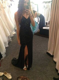 Sexy Black Spaghetti Straps Floor-Length A Line V Neck Beading Prom Dress,Black Evening Dress,Prom Gowns 2015,Long Evening Dress With Sequins,Formal Party Dress On Sale,Real Made Dress For Prom,