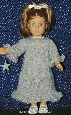 ABC Knitting Patterns - American Girl Doll Evening Dress