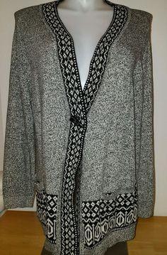 CJ Banks Women's Sweater Jacket Long Sleeve Black White Plus Size 2X XXL EUC  | eBay