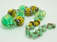 Antique Art Deco Czech Uranium Mint Green Bead Flower Necklace
