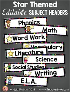 Label your star themed classroom with subject header cards! They are editable.