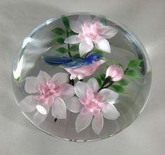 Rick Ayotte 1988 Bluebird & Pink Flowers Paperweight (sold in December 2007 for 666 dollars) . I had a difficult time letting this one fly out of my nest; Glass Marbles, Glass Beads, Art Of Glass, Marble Art, Glass Paperweights, Through The Looking Glass, Painted Paper, Glass Design, Paper Weights