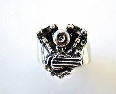 Large Knucklehead Motor Ring - Motorcycle Biker Jewelry
