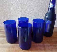 Beer Bottle Glasses made from Cobalt Blue Budweiser bottles by ConversationGlass, $30.00