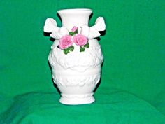 Beautiful Vintage Doves and Pink Roses Vase
