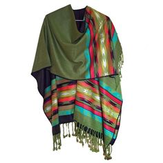 HIGH QUALITY ALPACA WOOL PONCHO WRAP GREEN HANDMADE IN ECUADOR