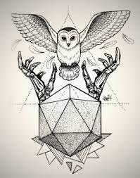 Znalezione obrazy dla zapytania owl triangle tattoo
