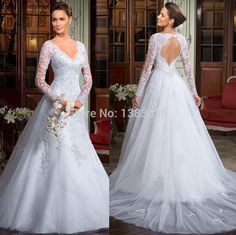 Find More Wedding Dresses Information about Sexy Backless Wedding Dresses 2014 Free Shipping Hot Sales V Neck Appliqued Back Open Wedding Dress with Long Sleeves,High Quality Wedding Dresses from beautiful dream house on Aliexpress.com