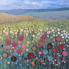 Art Mixed Media Canvas - Button Meadow button art on canvas - by Jo Grundy. This is so amazing an inspiring I can't even stand it!button art on canvas - by Jo Grundy. This is so amazing an inspiring I can't even stand it! Mixed Media Canvas, Mixed Media Art, Button Art On Canvas, Buttons On Canvas, Button Picture, Landscape Quilts, Landscape Art, Button Crafts, Button Art Projects