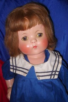 Beautiful Effanbee Factory Patsy Lou Composition Doll w/ Box ~ Gift from on Ruby Lane Child Doll, Girl Dolls, Antique Dolls, Vintage Dolls, Effanbee Dolls, Sailor Outfits, Human Hair Wigs, New Outfits, American Girl