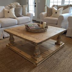 Rustic Farmhouse Cottage Baluster Coffee Table by BushelandPeckFarm on Etsy https://www.etsy.com/listing/264236178/rustic-farmhouse-cottage-baluster-coffee