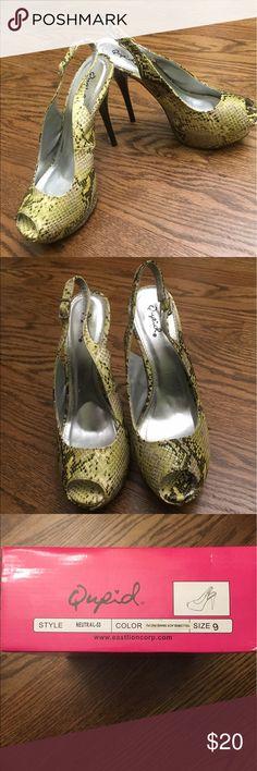Qupid Heels Yellow & black snake pattern. Open toe. Worn inside once. Qupid Shoes Heels