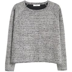 Mango Flecked Jumper, Medium Grey (67 PLN) ❤ liked on Polyvore featuring tops, sweaters, shirts, jumpers, long-sleeve shirt, round neck sweater, shirt sweater, gray shirt and jacquard sweaters