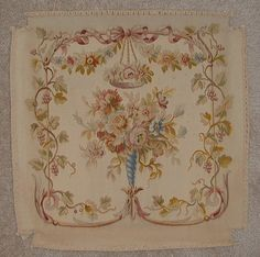 114 nineteenth century aubusson floral chair cover with flowers bows ...