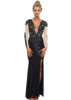 Holt Black & Nude Painted Crystal Flower Juliet Evening Gown