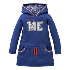 Oilily blue cotton jersey sweatshirt dress with 'I believe in ME' placement on the front. Lined hood with two pockets.
