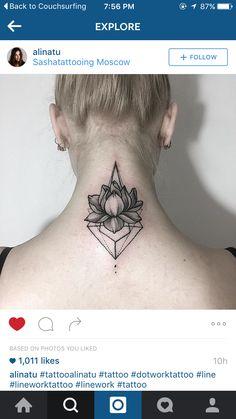 Geometric Lotus Dotwork Linework tattoo