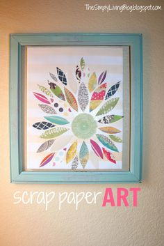 I love the idea of creating art from paper scraps -attention folks who scrapbook. I love the idea of creating art from paper scraps -attention folks who scrapbook: send me your scra Paper Wall Art, Diy Wall Art, Diy Art, Scrapbook Paper Art, Scrapbooking, Diy Canvas, Crafty Craft, Cute Crafts, Paper Scraps