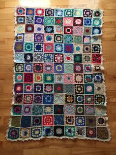 A personal favorite from my Etsy shop https://www.etsy.com/ca/listing/251804189/grannysquare-crochet-throw-multicoloured