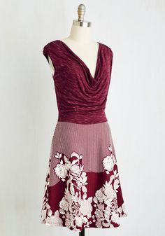 Style Notoriety Dress. Celebrity status is more readily achievable than youd think - just jump into this maroon twofer dress, saunter down the sidewalk, and youll see! #red #modcloth