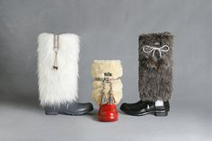 Lulu Coco Brown Faux Fur Boot Cover with pom pom by UWADUHI, $29.99