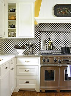 Black and white (and yellow) kitchen