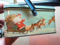 vintage 1920s christmas santa claus tin tindeco lunch box candy container rare