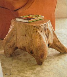 Natural wood tree stump with roots side table.