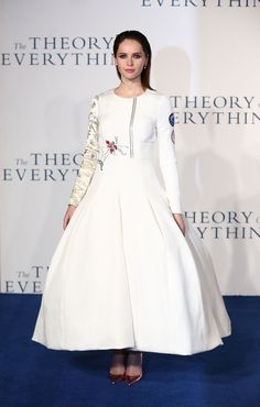 Felicity Jones in Dior Fall 2014 Couture at the UK Premiere of 'The Theory Of Everything' at Odeon Leicester Square on December 9, 2014 in London
