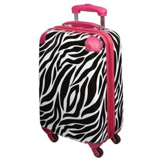 Zebra Print Hard Shell Suitcase (130 AUD) ❤ liked on Polyvore featuring bags, luggage and bolsa