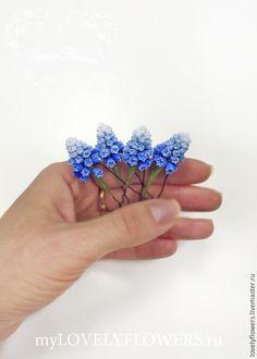 Купить Мускари из полимерной глины для прически на шпильках - цветы ручной работы, цветы из полимерной глины