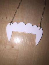 Vampire Fangs, White Acrylic Necklace Charm, Laser Cut Pendant, Emo Goth LOOK