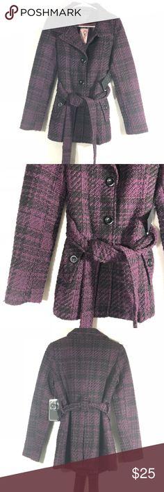 0d9733388290b Purple Wool Blend Peacoat Jacket NWT ci sono by cavalini for Love culture  winter coat.