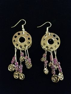 Bobbin Earrings with Purple beads