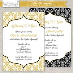 Damask 50th or 25th anniversary wedding invitation diy print 50th anniversary invitation golden anniversary invitation printable digital file or printed invitations with envelopes solutioingenieria Images