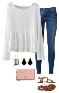 """white blouse"" by helenhudson1 ❤ liked on Polyvore featuring Hudson, Steve Madden, Tory Burch, Kendra Scott and Essie"