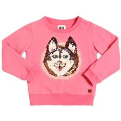 American Outfitters Kids-girls Sequins Embellished Cotton Sweatshirt (340 BRL) ❤ liked on Polyvore featuring pink