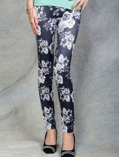Floral Printed Dark Blue Leggings