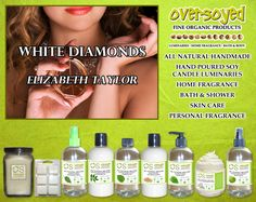 """White Diamonds for Women (Compare To Elizabeth Taylor®) Product Collection - A sharp, gentle, floral fragrance containing a blend of lily, rose, amber, oakmoss and sandalwood. """"These have always brought me luck..."""" #OverSoyed #WhiteDiamonds  #ElizabethTaylor #Candles #HomeFragrance #BathandBody #Beauty"""