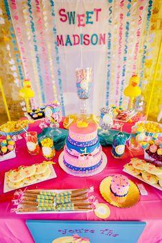 The Party Wall: Rubber Ducky Inspired First Birthday Party Jojo Siwa Birthday, Elmo Birthday, Baby Girl First Birthday, First Birthday Parties, First Birthdays, Birthday Ideas, Rubber Duck Birthday, Rubber Ducky Party, Party Wall Decorations