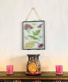 Excited to share this item from my shop: Large Real pressed flower handmade picture Pressed Flower Art, Hanging Pictures, Hanging Wall Art, Flower Pictures, Real Flowers, Glass Vase, Candle Holders, Etsy Shop, Candles