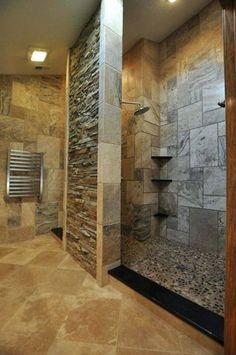 Doorless Shower Ideas Walk In Doorless Shower Ideas Walk In. Walk-in showers nowadays have been… Small Bathroom Inspiration, Bad Inspiration, Bathroom Ideas, Bathroom Remodeling, Remodeling Ideas, Bathroom Layout, Bathroom Organization, Master Shower Tile, Master Bathroom