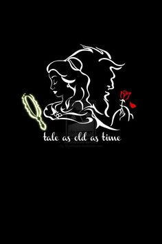 """Iphone Wallpaper Quotes - """"Tale as Old as Time"""" by SkyeRoque (on deviantART), based on Grodansnagel& . Beauty And The Beast Wallpaper, Beauty And The Beast Tattoo, Disney Beauty And The Beast, Beauty And The Beast Silhouette, Disney Love, Disney Magic, Disney Art, Tale As Old As Time, Disney Quotes"""