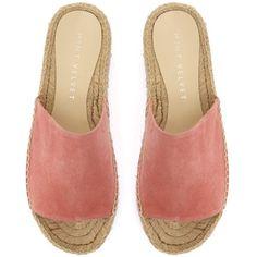 Mint Velvet Beth Espadrille Slider Sandals , Pink (€93) ❤ liked on Polyvore featuring shoes, sandals, espadrille, slip on sandals, flatform espadrille sandals, strappy flat sandals, flat shoes and flat espadrilles