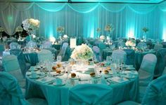 tiffany blue aqua lighting, wedding decor ideas inspiration curated and collected by Design Shop Wedding Table Decorations, Wedding Themes, Wedding Centerpieces, Themed Weddings, Blue Centerpieces, Centerpiece Flowers, Wedding Poses, Wedding Signs, Wedding Dresses