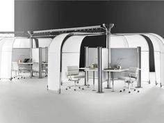 A variety of Resolve System workstations with movable canopies and gray fabric dividing screens. Plywood Furniture, Office Furniture, Modern Furniture, Furniture Design, Desk Partitions, Owl Coffee, Futuristic Furniture, Grey Fabric, Herman Miller